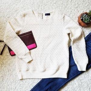 GAP Cream Quilted Sweatshirt with back Zipper